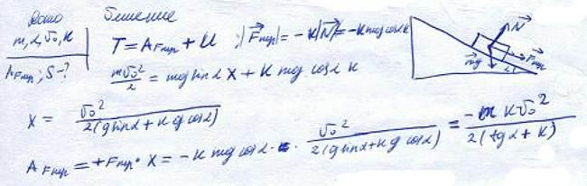 Тело массы m пустили вверх по наклонной плоскости, составляющей угол α с горизонтом.