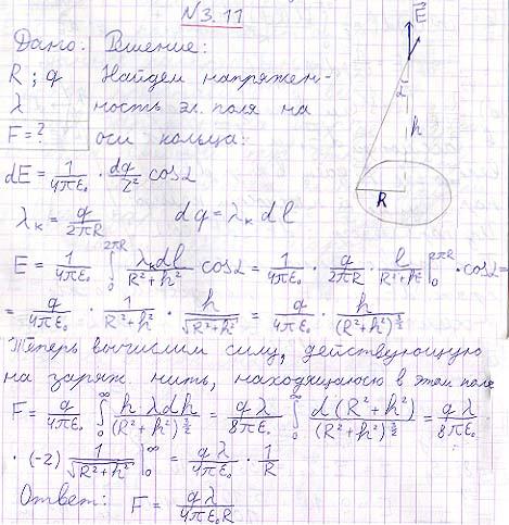 Система состоит из тонкого заряженного проволочного кольца радиуса R
