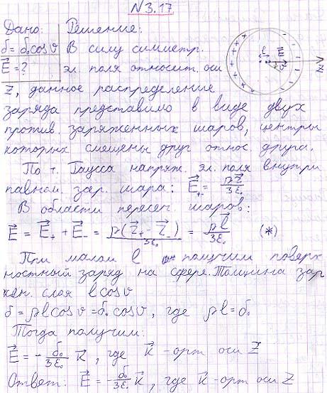 Пусть поверхностная плотность заряда на сфере радиуса R зависит от полярного угла ϑ как σ = σ0 cos ϑ