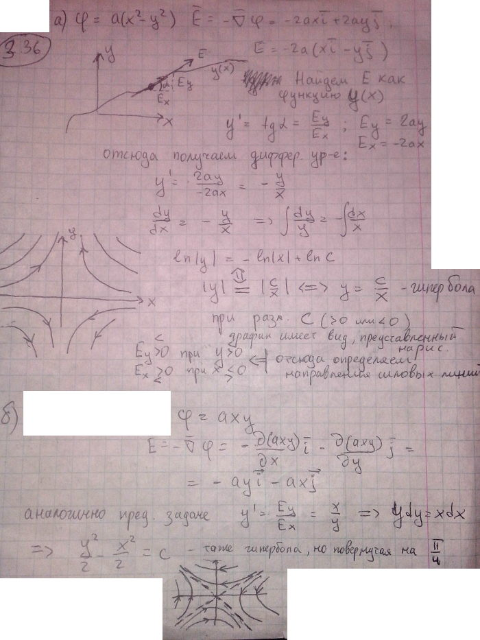 Определить вектор напряженности электрического поля, потенциал которого зависит от координат x