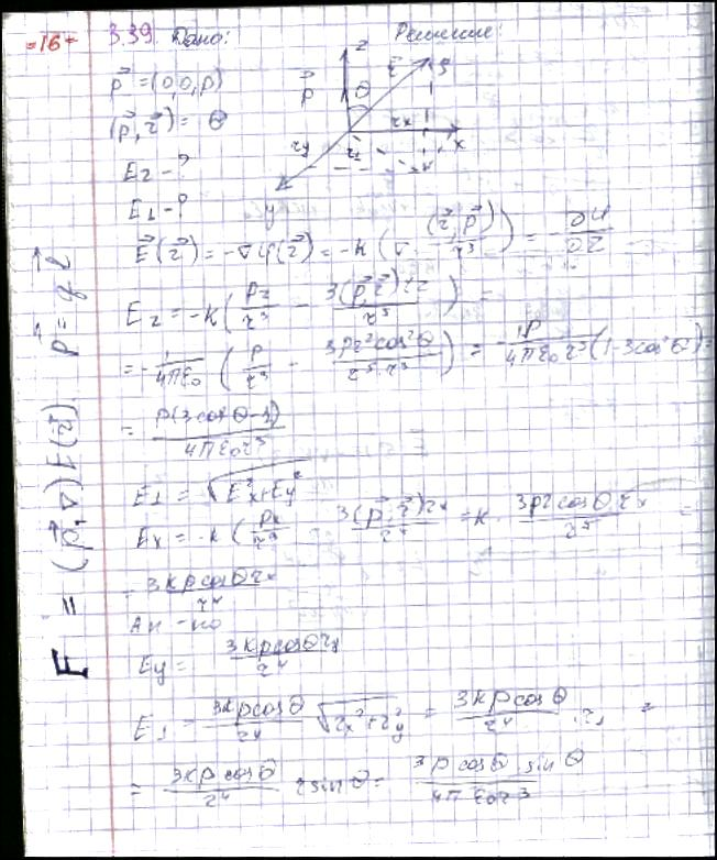 Точечный диполь с электрическим моментом p, ориентированный в положительном направлении оси z