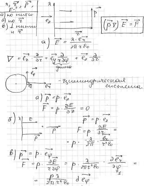 Диполь с электрическим моментом p находится на расстоянии r от длинной нити