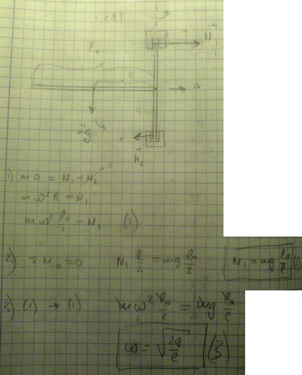 Горизонтально расположенный однородный стержень AB массы m = 1,40 кг и длины l0 = 100 см
